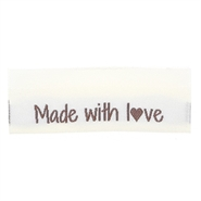 "Vævede labels, dobbeltsidet, foldet 50 x 11,5 mm ""Made with love"" - 10 stk - Go Handmade"