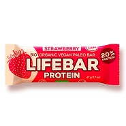 LifeBar Strawberry Proteinbar RAW Økologisk - 47 gram - LifeFood