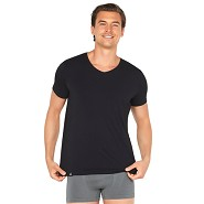 T-shirt Herrer V-hals sort - Large - Organic Bamboo Eco Wear